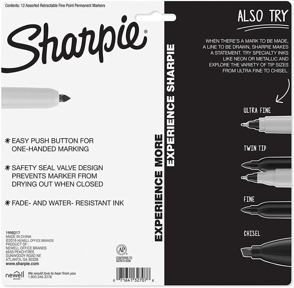 12ct Sharpie Retractable Permanent Markers