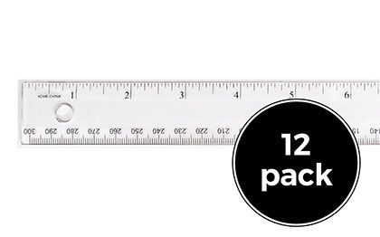 12ct 12 inch Clear Plastic Rulers Pack