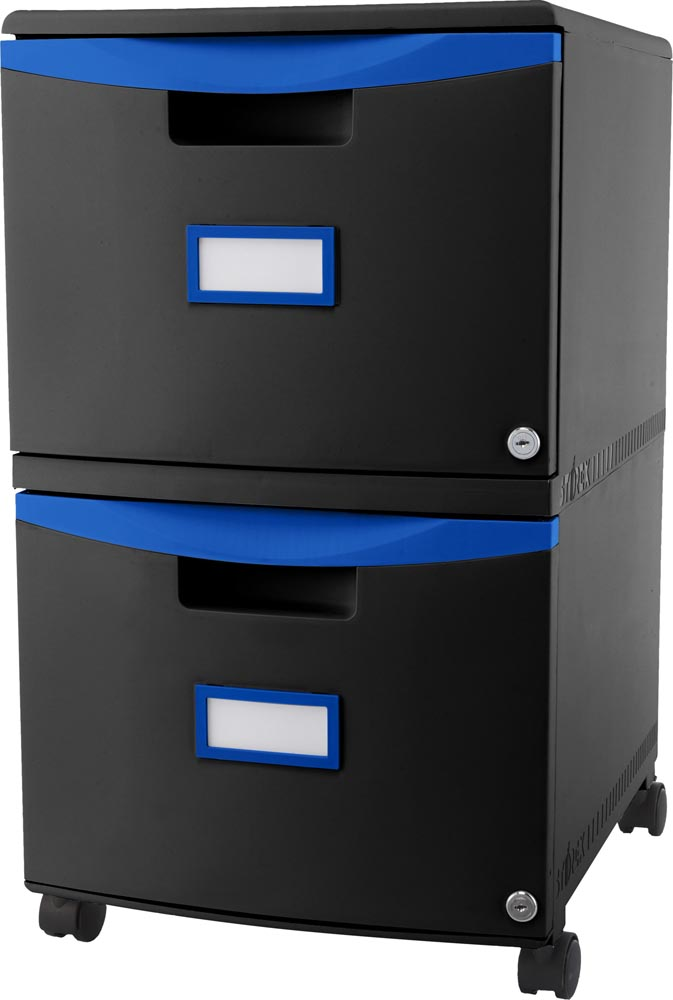 2 Drawer Mobile File Cabinet with Lock Black and Blue (61315U01C STX)