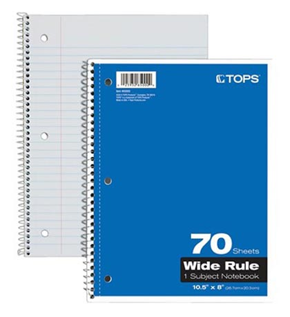 1 Subject Wide Ruled Notebook 70 Sheets