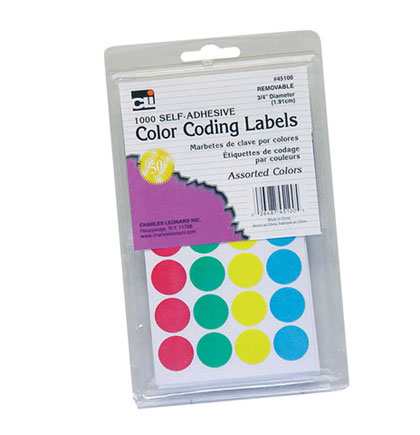 1000ct Assorted Color Coding Labels         Pack