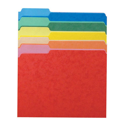 100ct Third Cut Assorted Color File Folders Box