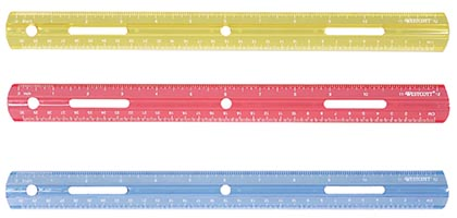 12 inch Colored Plastic Ruler Each