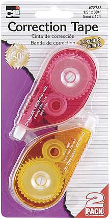 2ct Correction Tape Assorted Color Casing