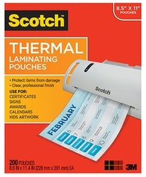[TP3854100 MMM] 100ct Letter Size Scotch Thermal Laminating Pouches