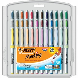 [GPMUP361AST BIC] 36ct Ultra Fine Bic Marking Permanent Markers