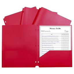 [33934 CL] Red Poly Two Pocket Portfolio Folder 3 Hole Punch
