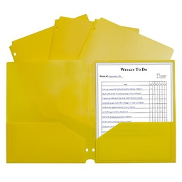 [33936 CL] Yellow Poly Two Pocket Portfolio Folder 3 Hole Punch