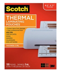 [TP5854100 MMM] 100ct Scotch 8.5in x 11in Thermal Laminating Pouches 5 mil