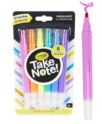 [586504 BIN] 6ct Crayola Take Note Erasable Highlighters