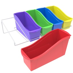 [71125U01C STX] Large Book Bins Assorted Color Set of 5 with Rack