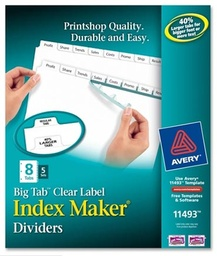 [11493 AVE] 5 Sets of 8 Tab Big Tab Index Maker Dividers