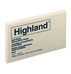 [6559 MMM] 3 X 5 Highland Yellow Note Pad          Each