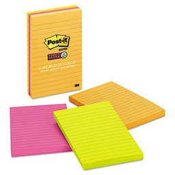 [6603SSUC MMM] 3ct 4x6 Lined Post it Super Sticky Notes