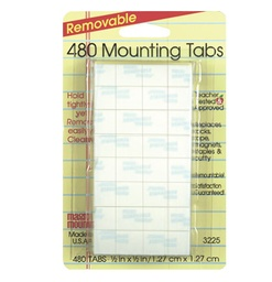 "[3225 MIL] 480ct 1/2"" x 1/2"" Removable Mounting Tabs Pack"