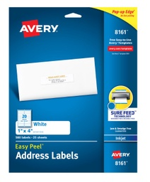 "[8161 AVE] Avery Easy Peel Address Labels with SureFeed 1"" x 4"""