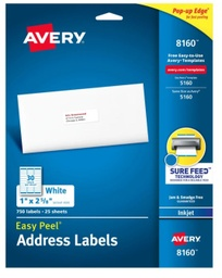 "[8160 AVE] Avery Easy Peel Address Labels with SureFeed 1"" x 2-5/8"""