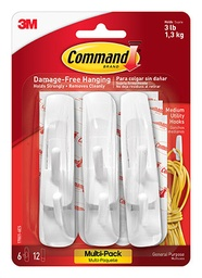 [170016ES MMM] 6ct Command Adhesives Mounting Hooks Pack