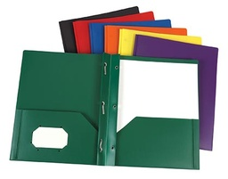 [76024 ESS] Green Poly Two Pocket Portfolio with Prongs